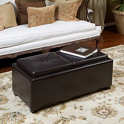 Christopher Knight Home Kenwell 2 Top Espresso Leather Tray Ottoman, Brown