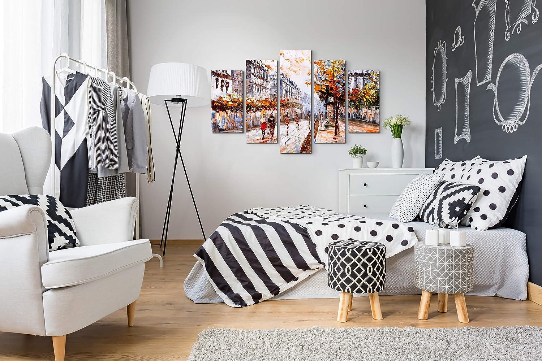 /Ölgem/älde Bilder Leinwand 130x90cm Stra/ße in Paris Paul Sinus Art Leinwandbilder