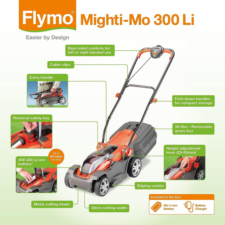 Flymo Mighti-Mo 300 Li Cordless Battery Lawn Mower 40 V and Mighti-Trim Twin Pack