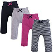 Touched by Nature Baby Organic Cotton Pants, Black and Berry 4Pk, 0-3 Months (3M)