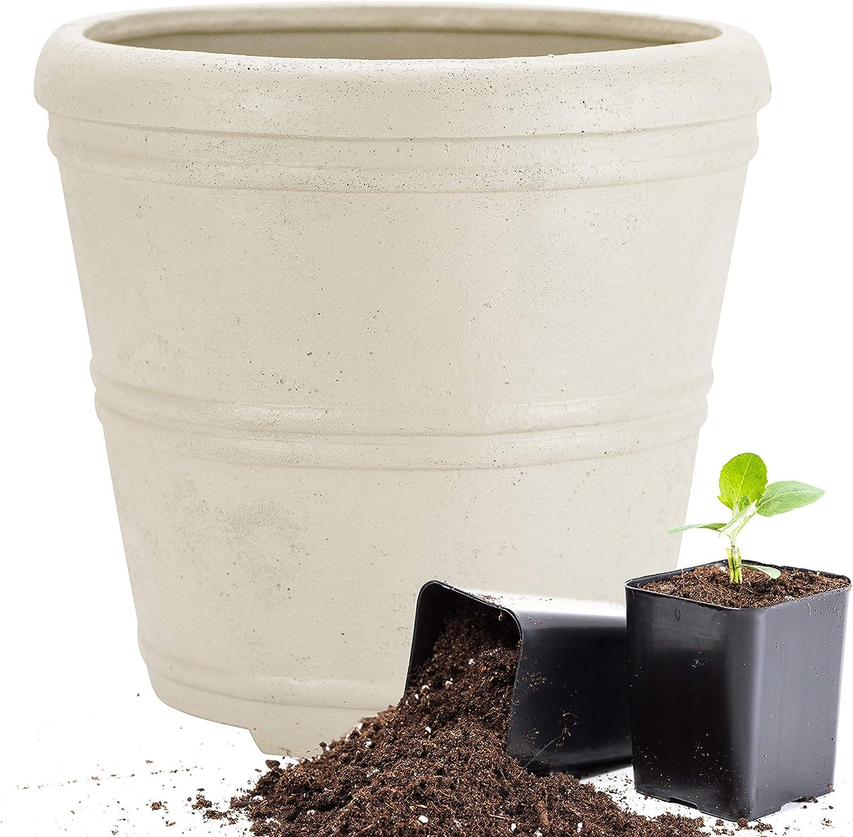 Martha Stewart Garden, Round False Bottom Planter, 12 Inch, Gray