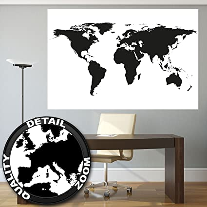 great art xxl poster world map black and white wall picture decoration map continents map of