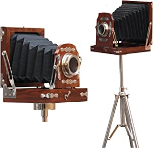 collectiblesBuy Vintage Look Old Steel Tripod Decorative Folded Camera Retro Photography Replica Studio Home Decor