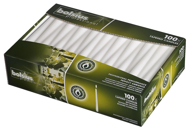 Bolsius 103400335502 candela conica, 25,4 cm bianco (confezione da 100) 4cm bianco (confezione da 100) P960