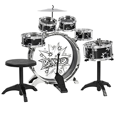 Amazon Com Kids Drum Set Kids Toy With Cymbals Stands Throne Black