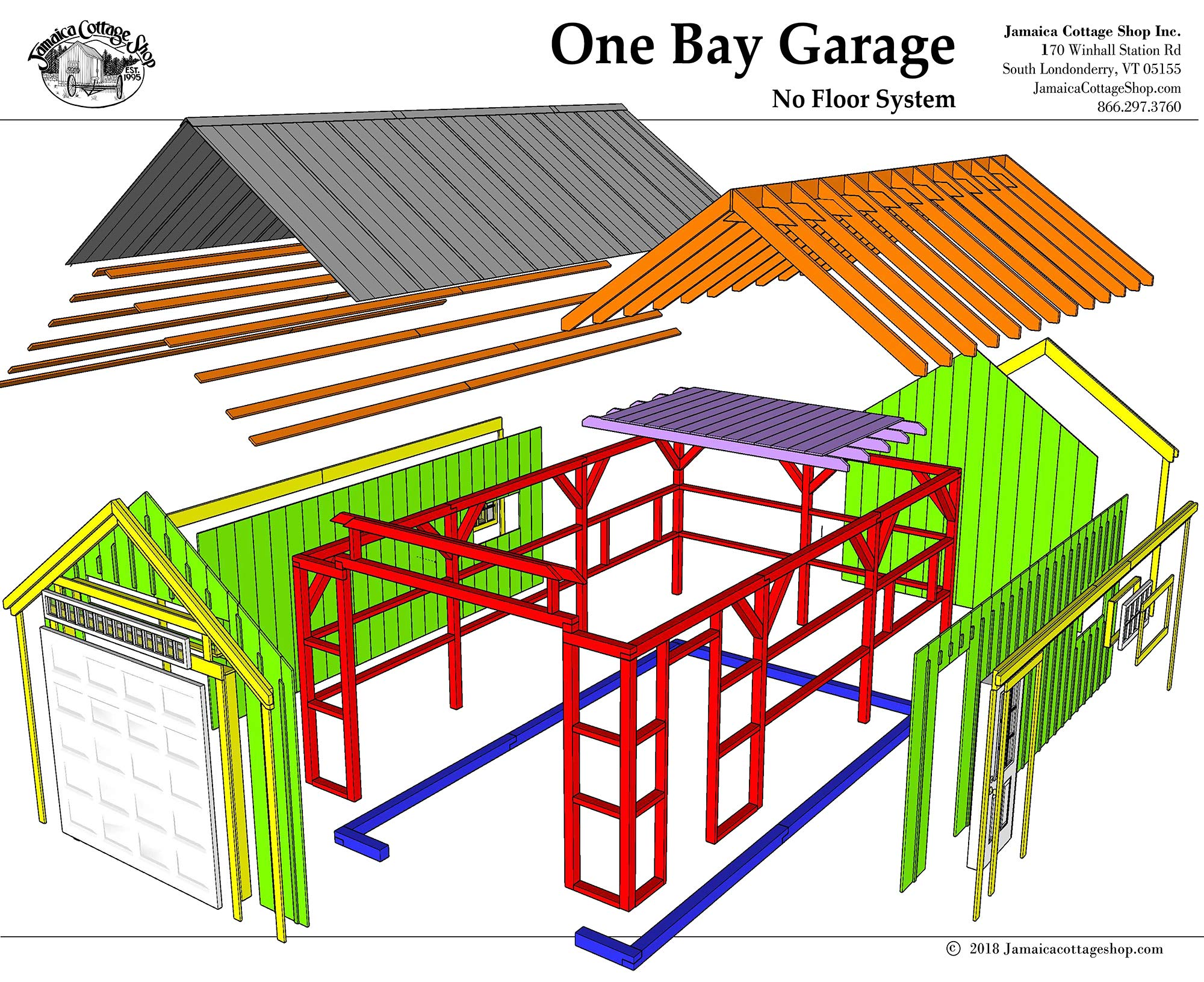 14x20 Timber Frame Post & Beam One Bay Garage Plans with Loft - Step-By-Step DIY Building Plans by Jamaica Cottage Shop, Inc.