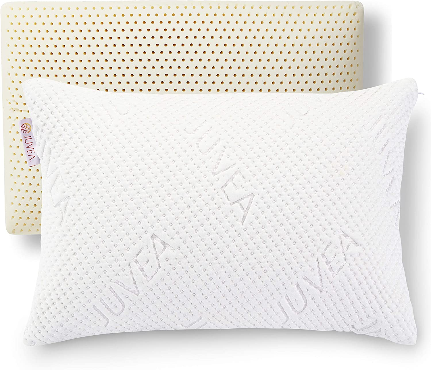 JUVEA 100% Natural, Talalay Latex Pillow, Absorbent, Cotton-Rich Cover, Best Sleeping Pillow to Support Head and Neck, Standard/Queen High Profile, Ideal for Side and Back Sleepers – Made in USA