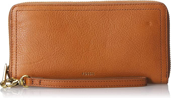 Amazon.com: Fossil Logan RFID Zip Around Clutch Tan: Clothing