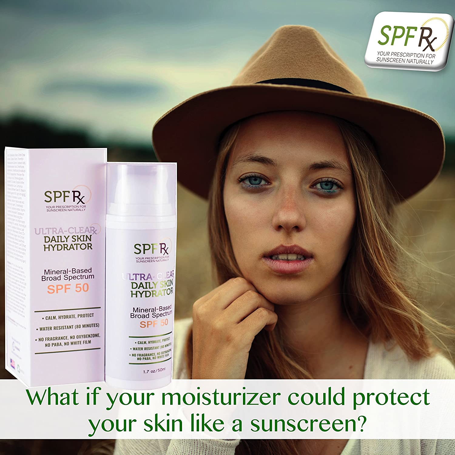 SPF Rx Ultra Clear UV Moisturizer SPF 50 Sunscreen Lotion with Zinc Oxide, Hyaluronic Acid First Daily Moisturizer To Protect Skin With Broad Spectrum, Multi-Functional Facial Product 1.7 oz, 2 pack