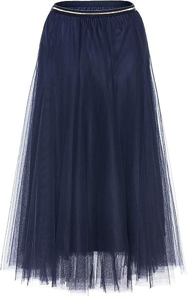 RUXIYI Falda larga de tul para mujer, 2 capas, cintura alta, falda ...