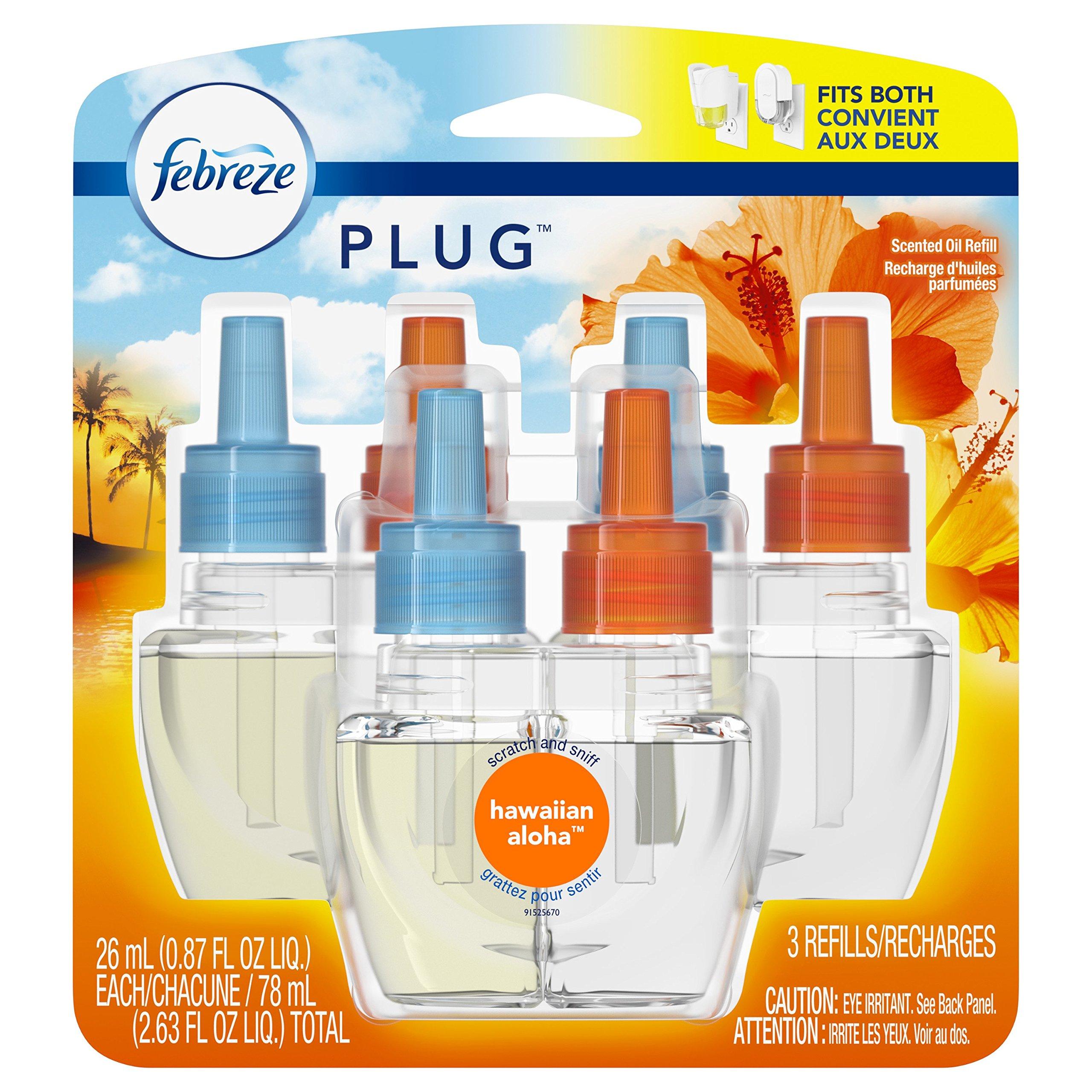 Febreze Plug Air Freshener Scented Oil Refill, Hawaiian Aloha, 3 Count