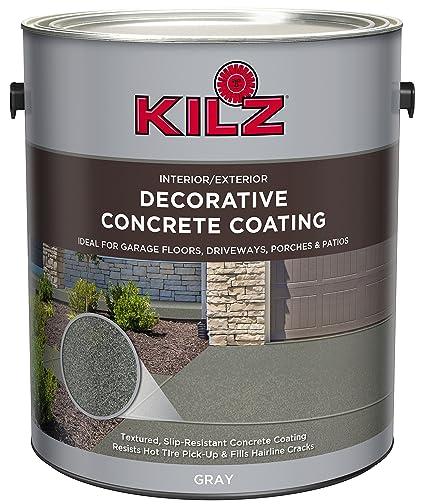 KILZ L378701 Interior/Exterior Slip Resistant Decorative Concrete Paint, 1  Gallon, Gray