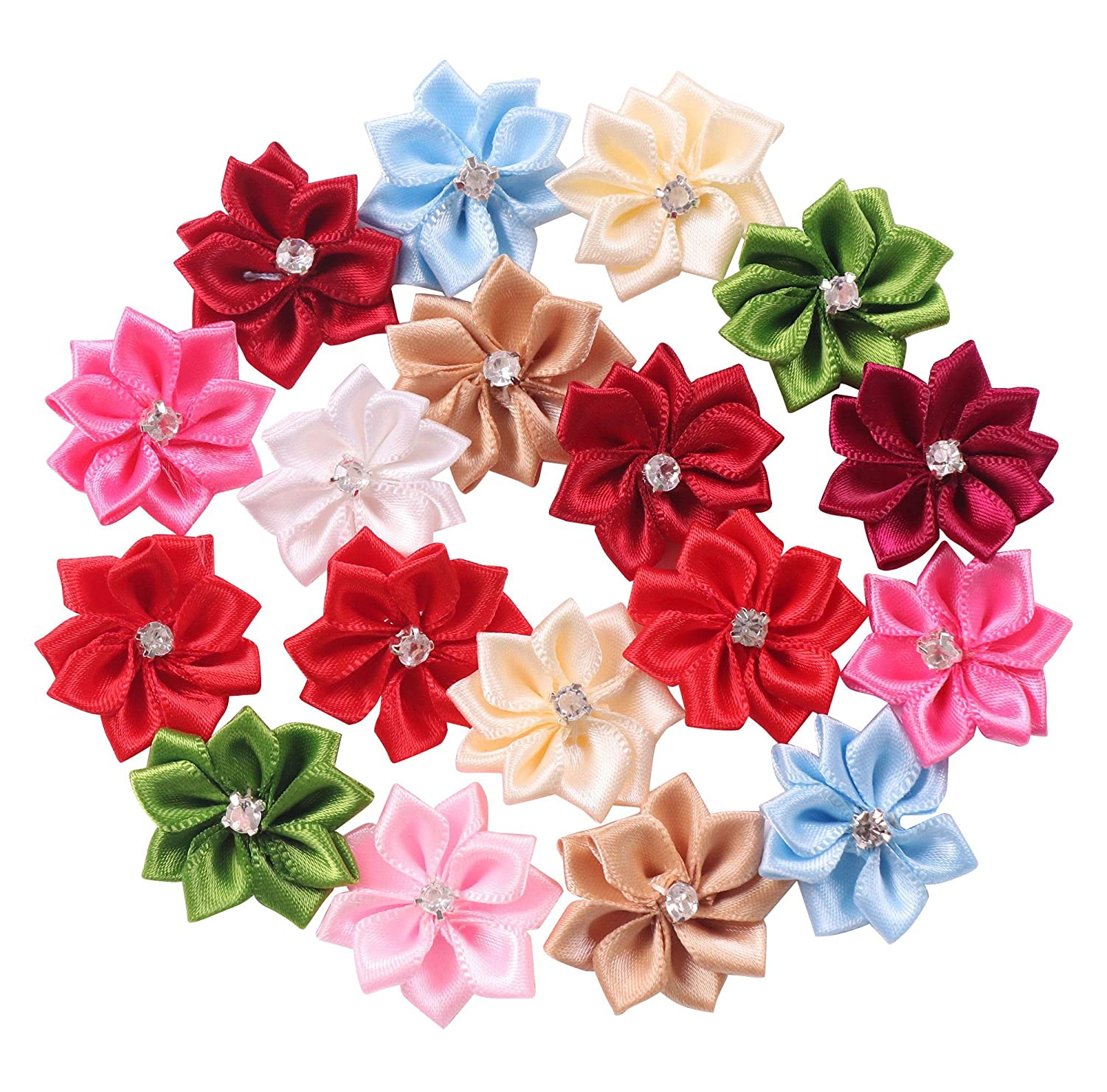 YAKA 50Pcs Satin Ribbon Flowers Bows Rose W/Rhinestone Appliques Birthday Party Wedding Decorations DIY Project Craft 1.1inch(Multi-color) s32