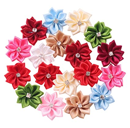 Amazon yaka 50pcs satin ribbon flowers bows rose wrhinestone yaka 50pcs satin ribbon flowers bows rose wrhinestone appliques birthday party wedding decorations diy mightylinksfo