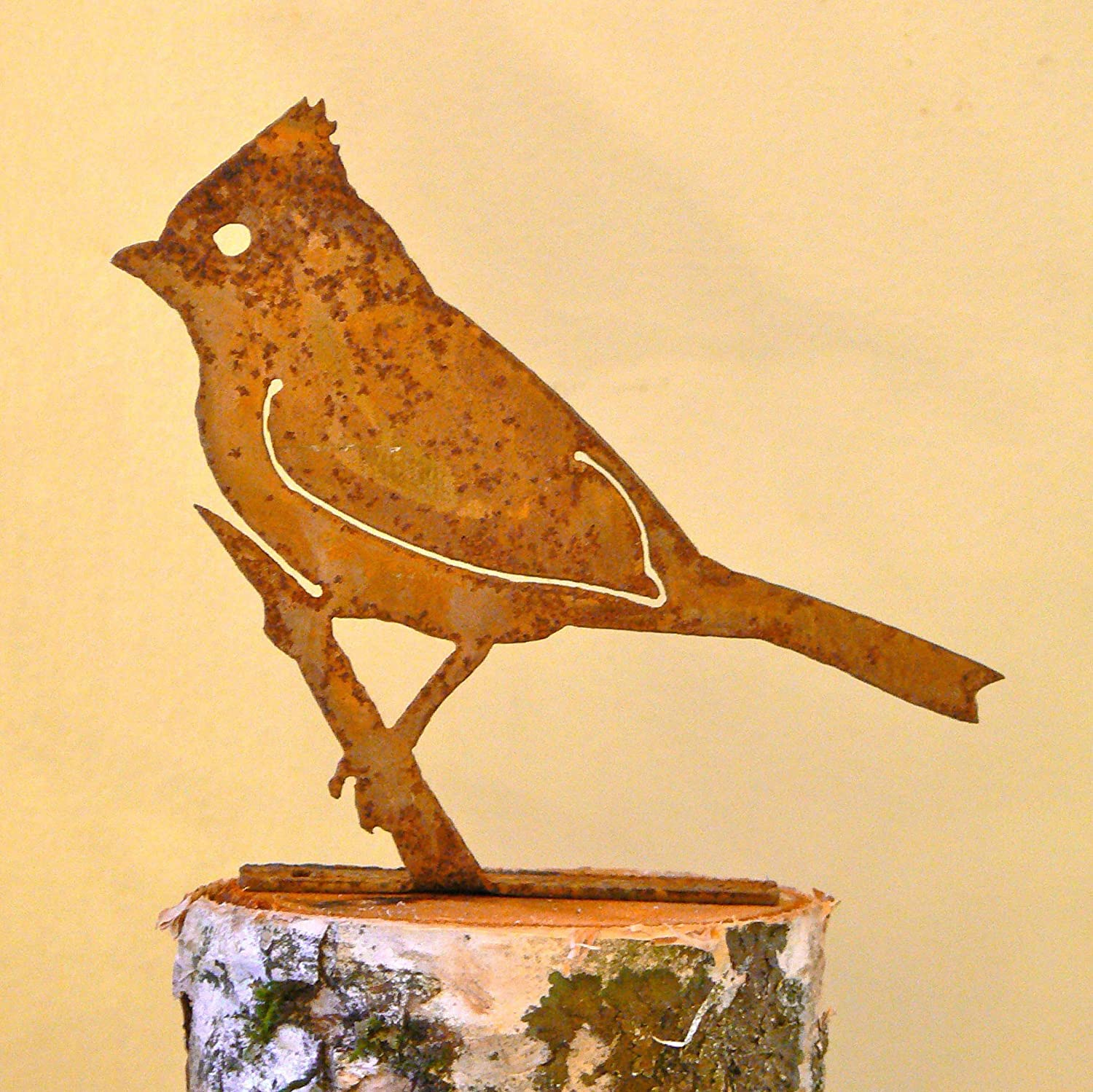 Elegant Garden Design Tufted Titmouse, Steel Silhouette with Rusty Patina