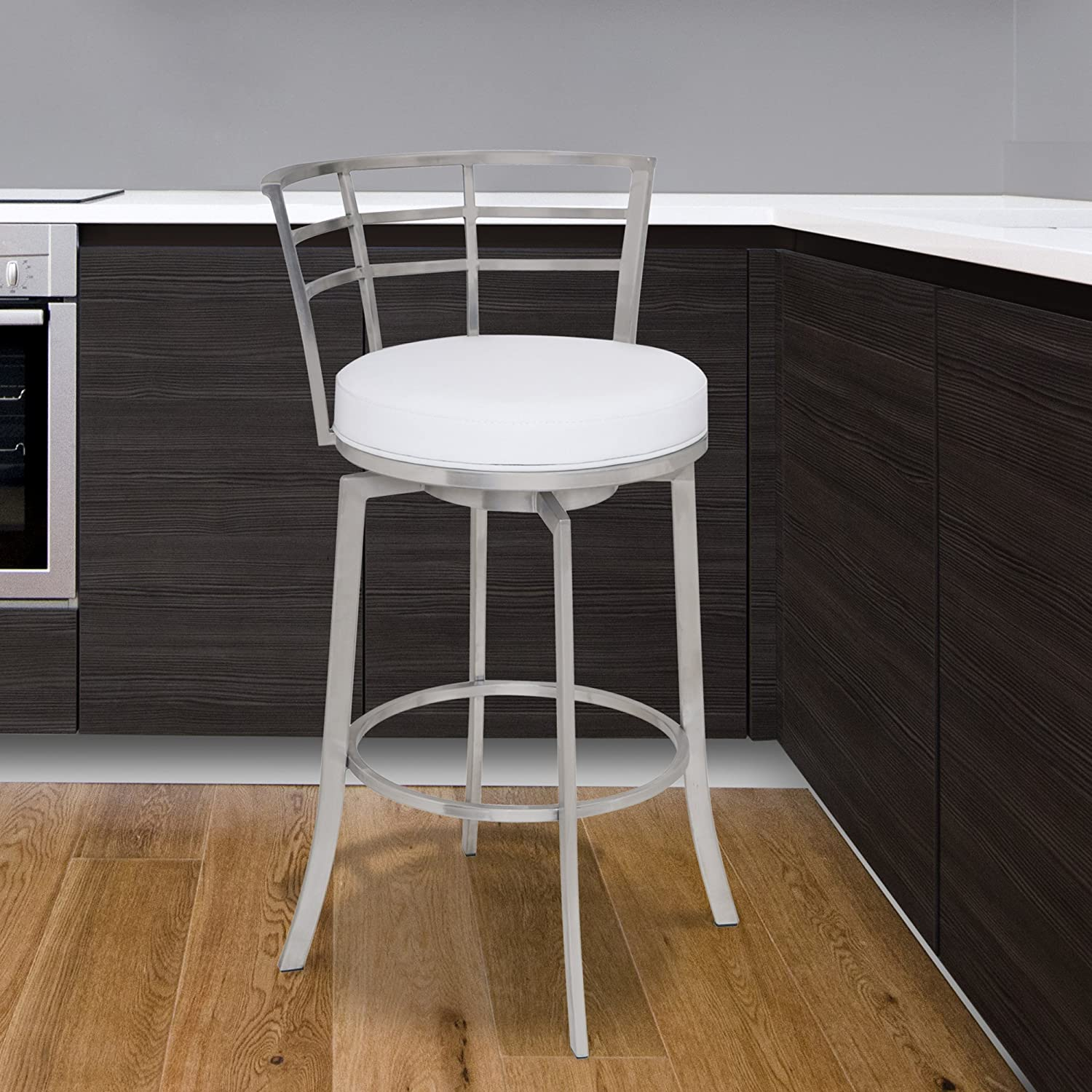 Armen Living Viper 26 Counter Height Swivel Barstool in White Faux Leather and Brushed Stainless Steel Finish