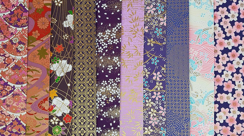 Tradizionale giapponese Yuzen Chiyogami ~ 10 fogli di carta ~ 20 x 20 cm ~ ref: L Yz