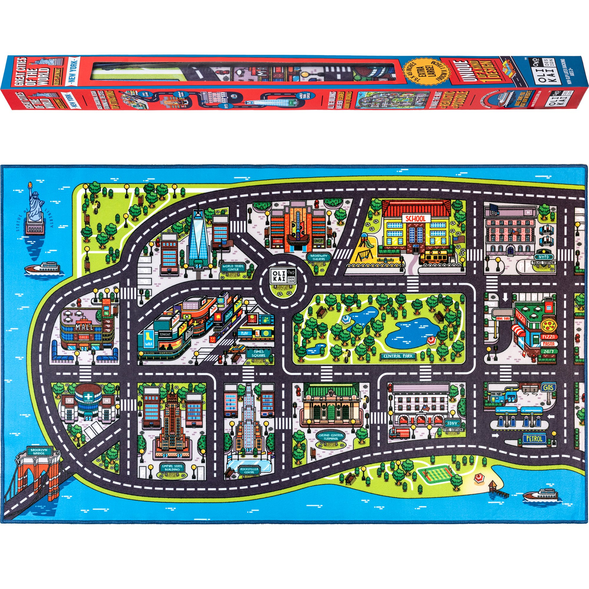 City Street Roads Kids Fun Car Play Rug 100x150cm Non: Large Kids Play Mat Road Car Rug Map Of New York City