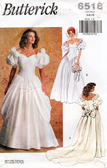 8ebb893cd Image Unavailable. Image not available for. Color: Butterick 6518 Vintage Wedding  Gown and Brides Maids Dress Sewing Pattern, Detachable Train ...