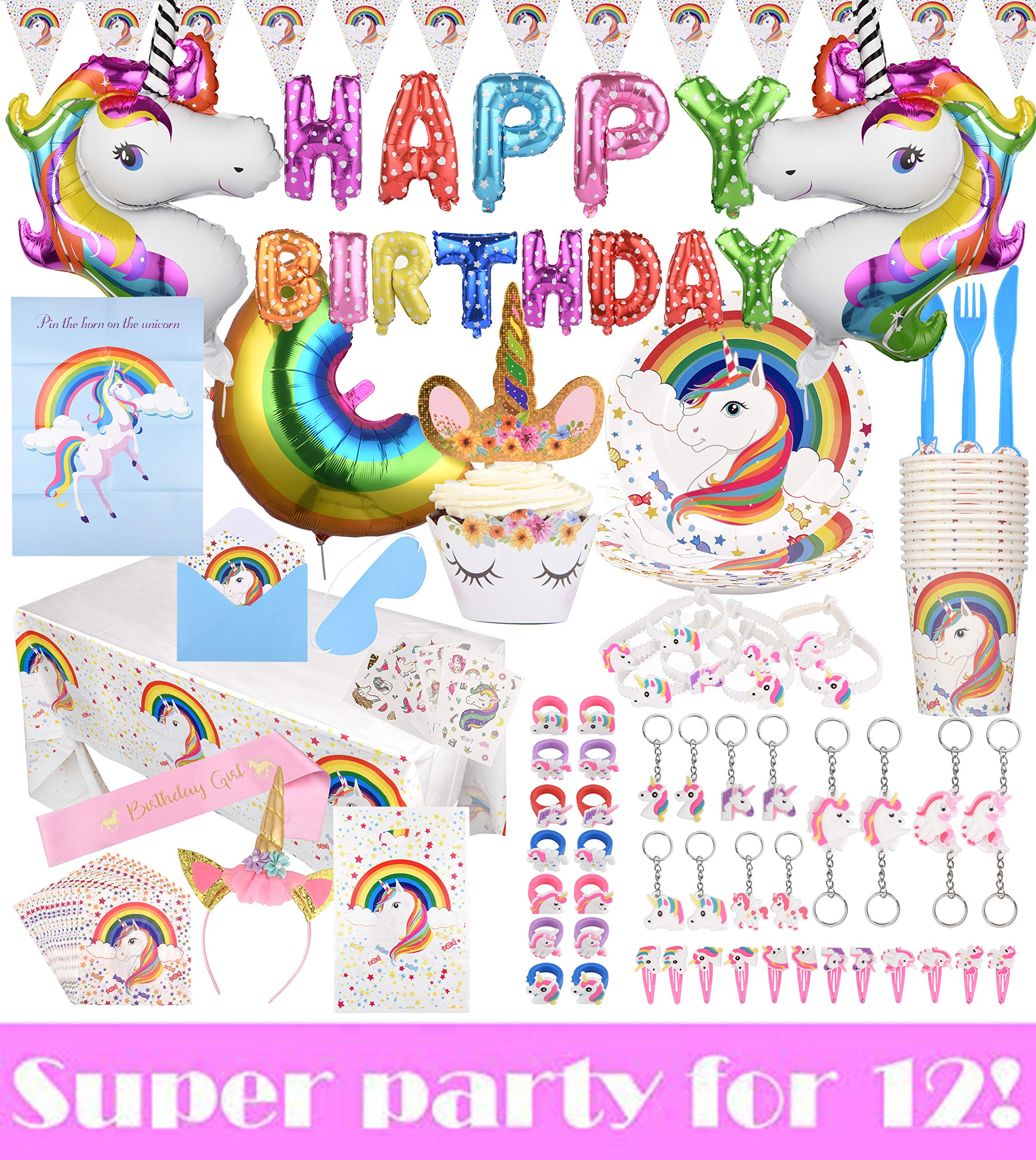 195-Piece Unicorn Birthday Party Supplies | Disposable Plates, Cups, Spoons, Forks & Knives for Buffet | Fun Rainbow Balloons, Tablecloth, Cake Toppers & Cupcake Wrappers | Party Games & Goodies by K&M Party