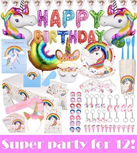 195-Piece Unicorn Birthday Party Supplies | Disposable Plates, Cups,  Spoons, Forks & Knives for Buffet | Fun Rainbow Balloons, Tablecloth, Cake