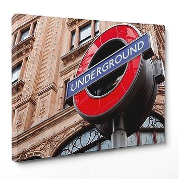 Cuadro sobre lienzo Canvas - ConKrea - Listo para colgar - Londres - UK Inglaterra - Underground Tube Subway: Amazon.es: Hogar