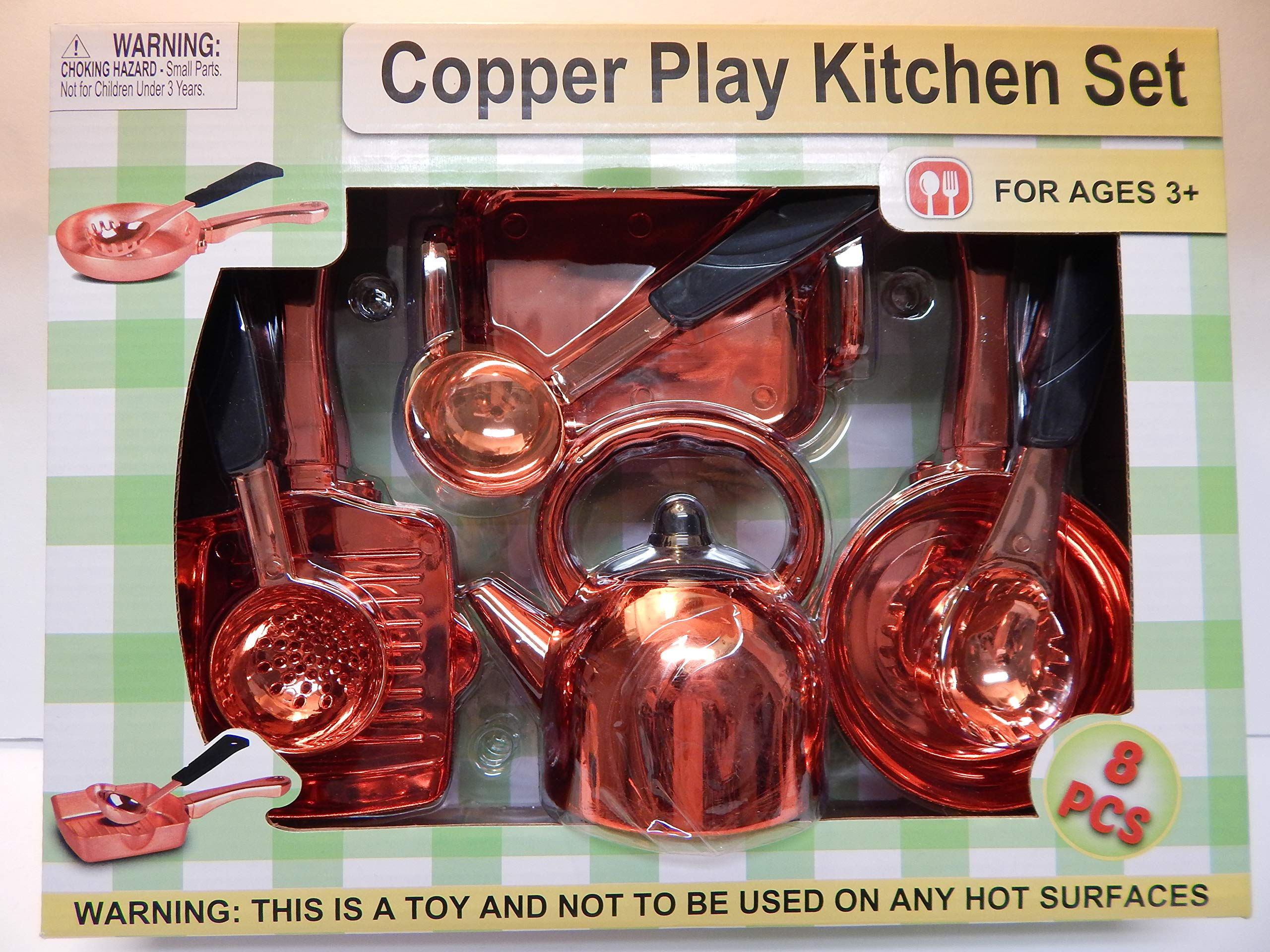 Copper Toy Pots and Pans Play Kitchen Set Play Copper Pots and Pans Toys for Kids - Kitchen Playset Pretend Copper Cookware Mini Cooking Utensils Development Toys for Children (8 Pieces)