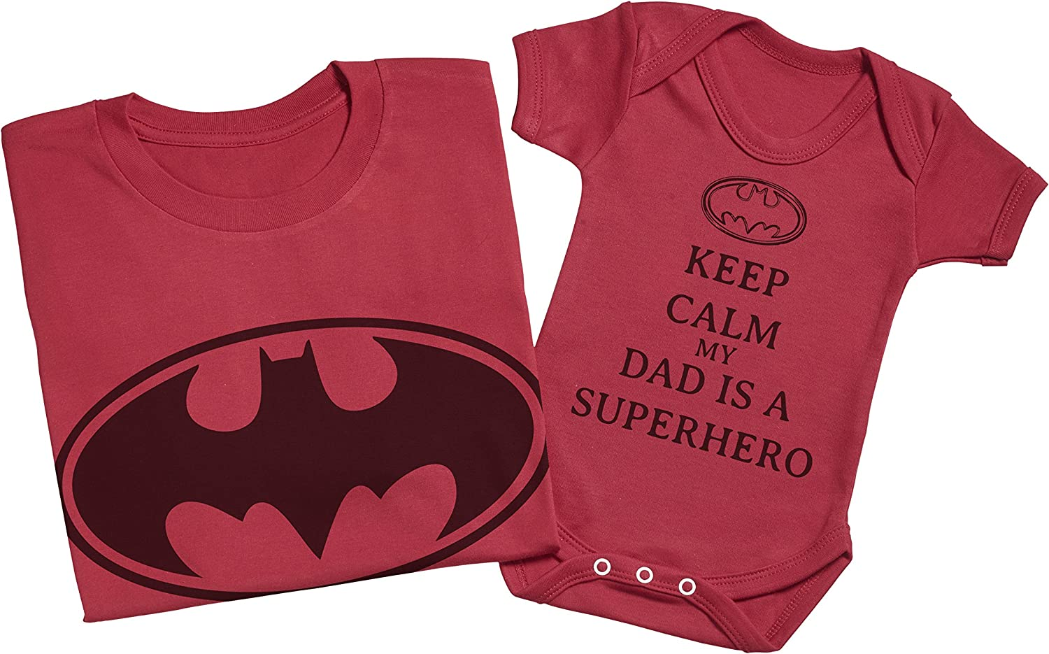 Each Sold Separately Create a Matching Father Baby Gift Set Keep Calm My Dad is A Hero Mens T Shirt /& Baby Bodysuit -