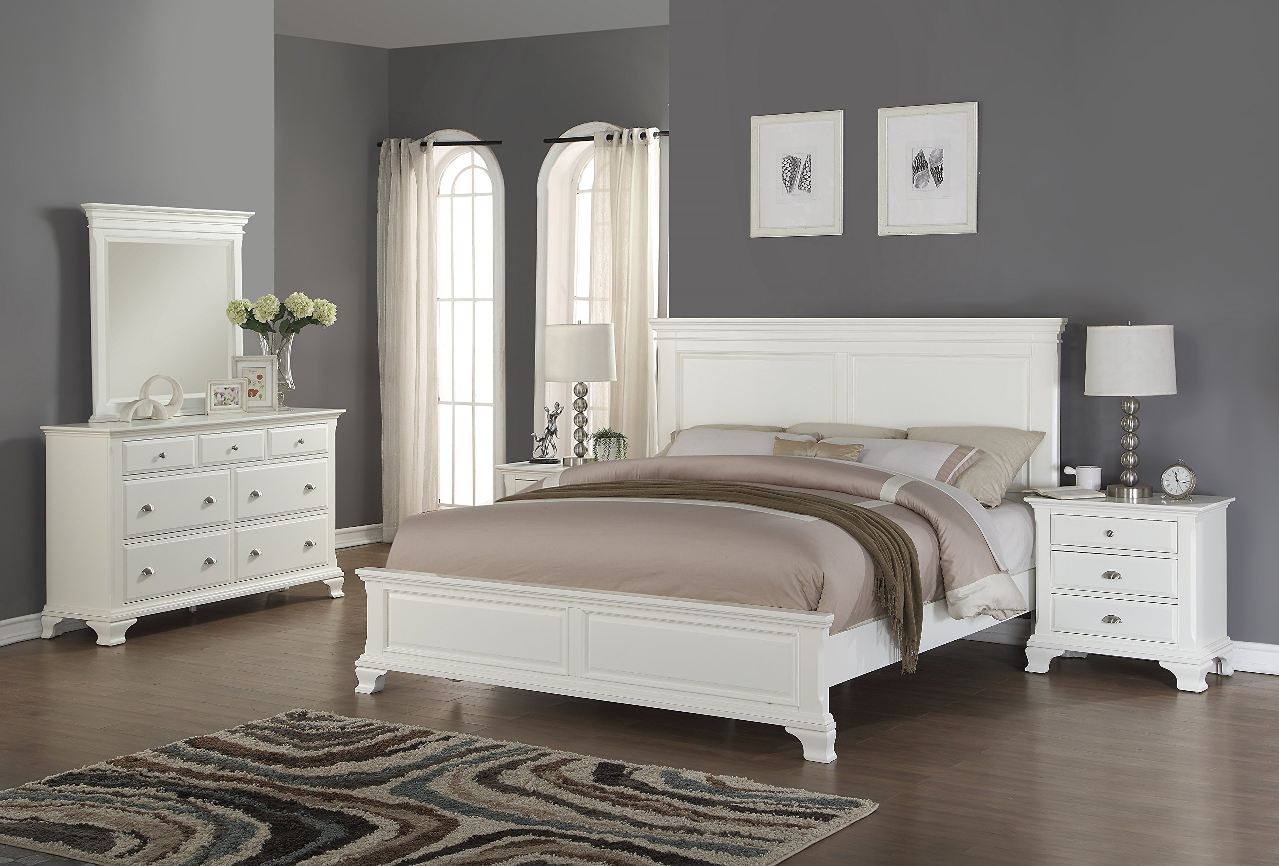 Roundhill Furniture Laveno 012 White Wood Bedroom Furniture Set, Includes Queen Bed, Dresser, Mirror and 2 Night Stands by Roundhill Furniture