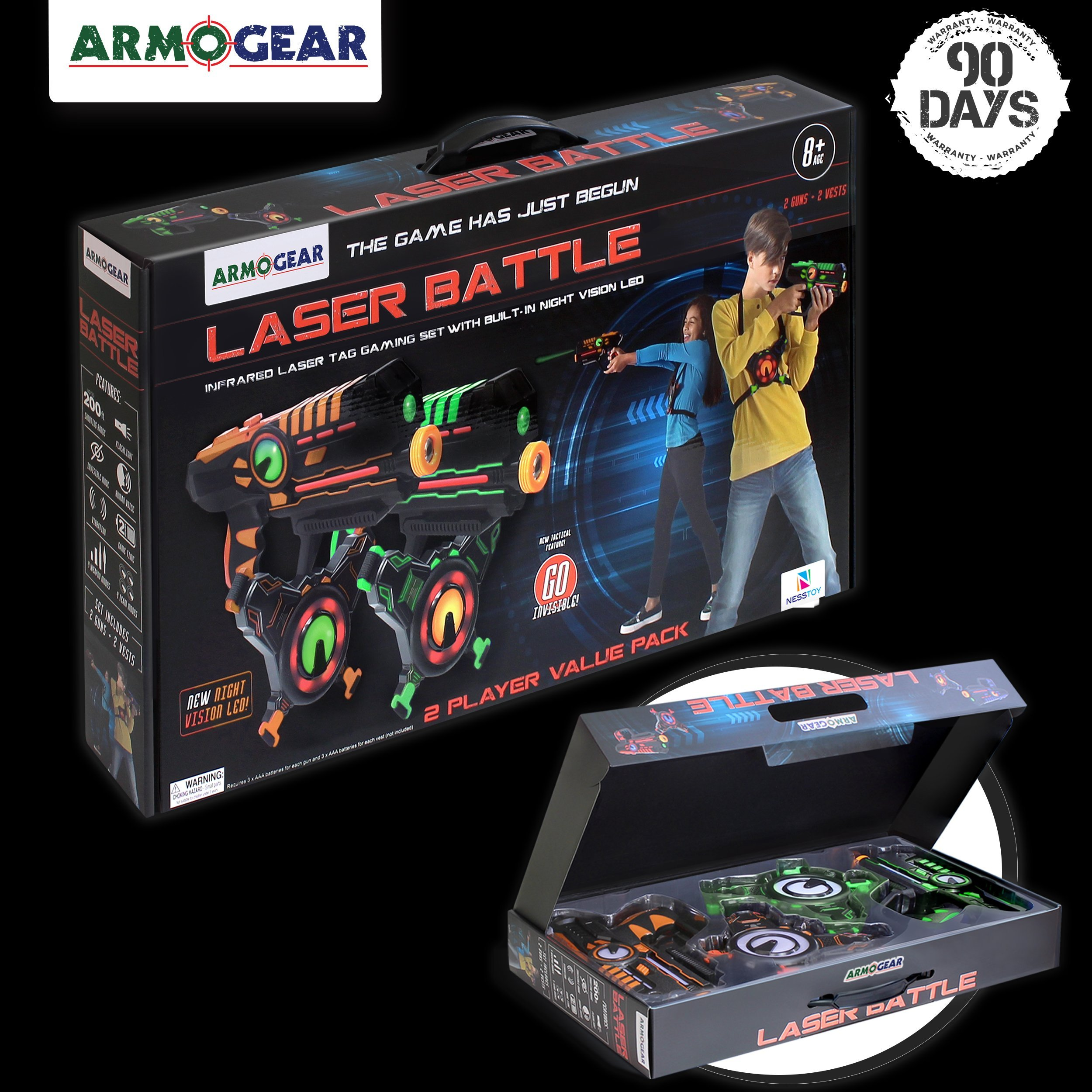 ArmoGear Infrared Laser Tag Guns and Vests - Laser Battle Game Pack Set of 2 in Gift Box Packaging - Infrared 0.9mW by ArmoGear (Image #6)