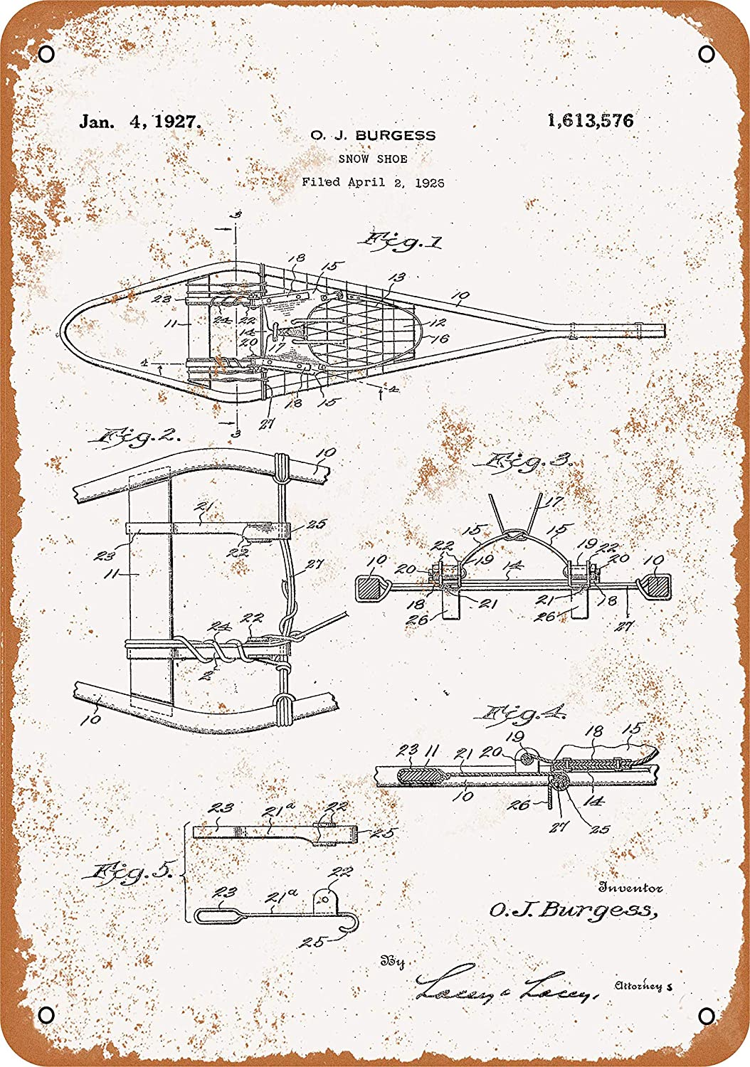 Wall-Color 10 x 14 Metal Sign - 1927 Snowshoe Patent - Vintage Look