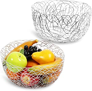 Wire Fruit Baskets, Silver Metal Farmhouse Kitchen Decor (2 Sizes, 2 Pack)