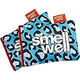 SmellWell Moisture Absorbing & Odor Eliminating Shoe Freshener, Blue Leopard design (2 Pack)