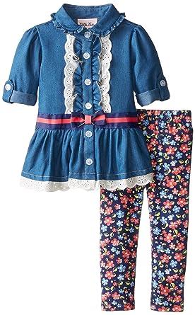 cf468fc1207f Amazon.com  Little Lass Baby Girls  2 Piece Legging Set Chambray ...