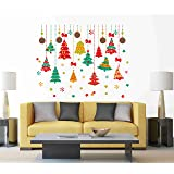 Decals Design 'Colourful Hanging Christmas Trees and Stars' Wall Sticker (PVC Vinyl, 50 cm x 70 cm, Multicolour)