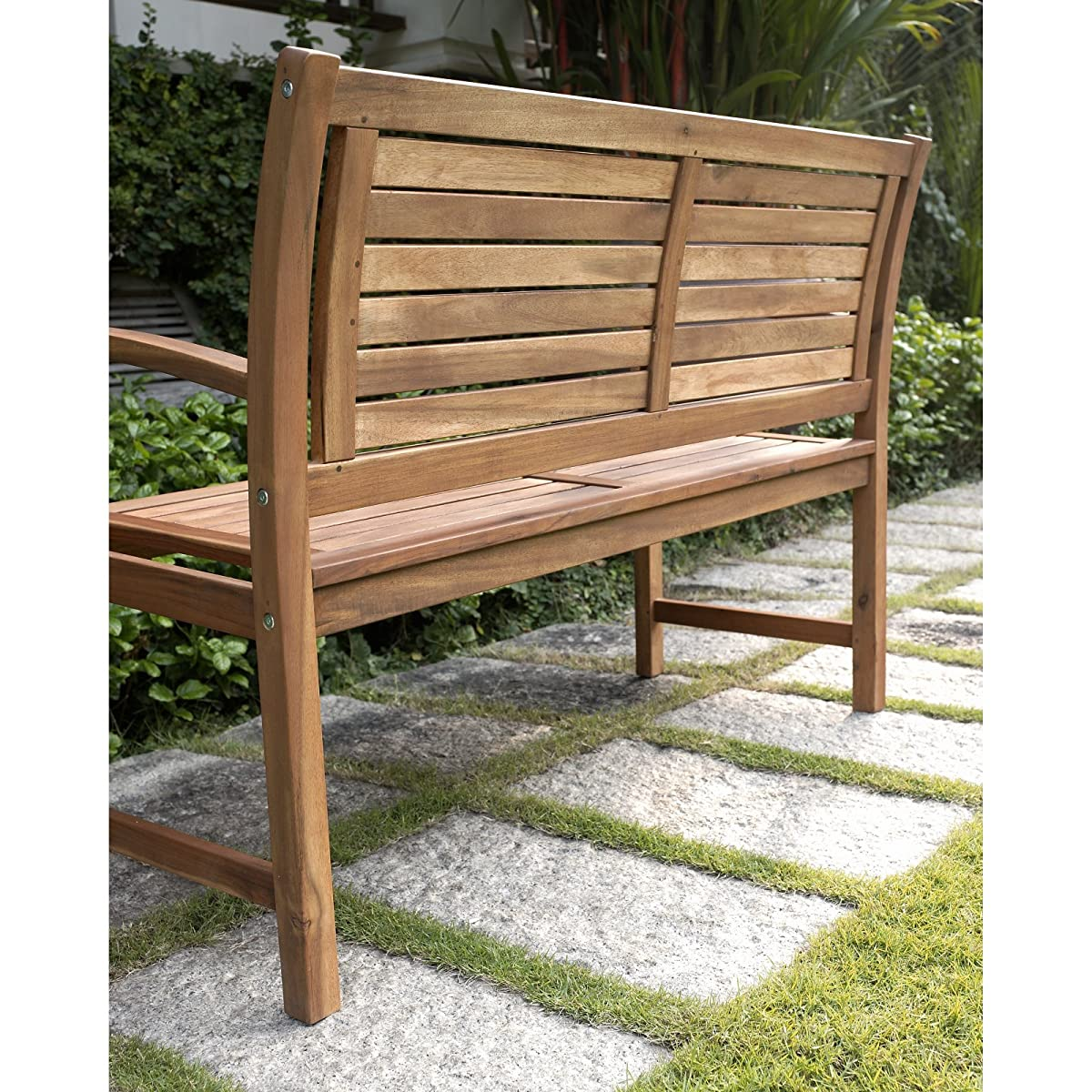 Coral Coast Coral Coast Norwood 4 ft. Horizontal Slat Back Outdoor Wood Garden Bench, Medium Wood, Wood