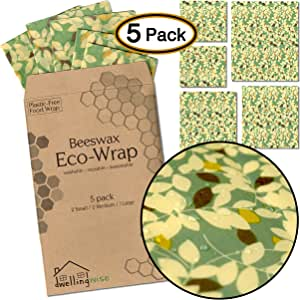 Org/ánico I 2 Grande 2 Mediano 1 Peque/ño I Envoltorio ecol/ógico y reutilizable BeesWax Wrap I 5 hojas Un paquete