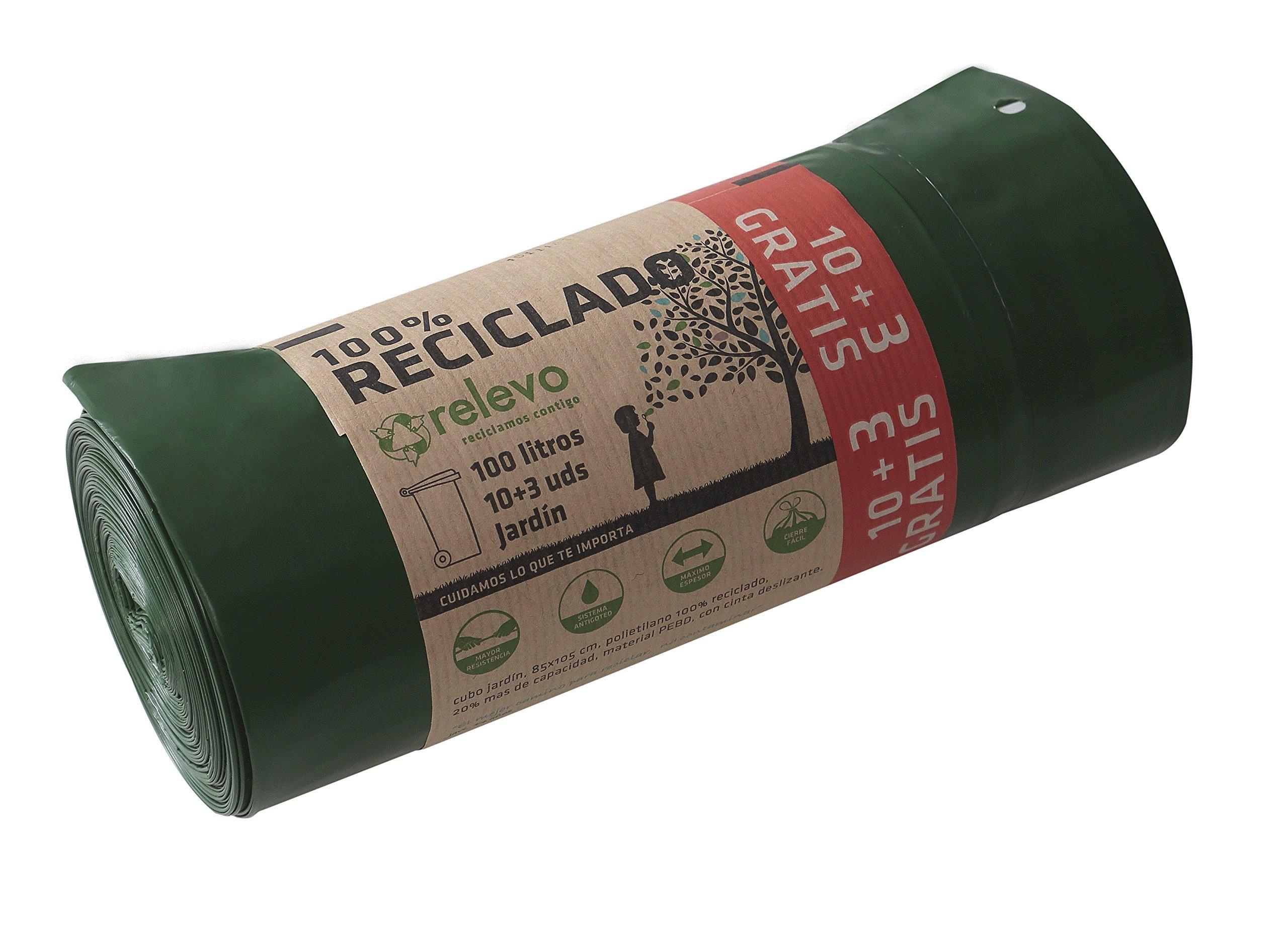 Relevo - Bolsa de basura 100 lt para cubo de jardín, bolsa reciclada con autocierre
