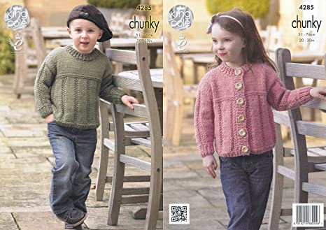 1b800942c741 King Cole Magnum Chunky Knitting Pattern Childrens Ribbed Detail Sweater    Cardigan (4285)  Amazon.co.uk  Kitchen   Home