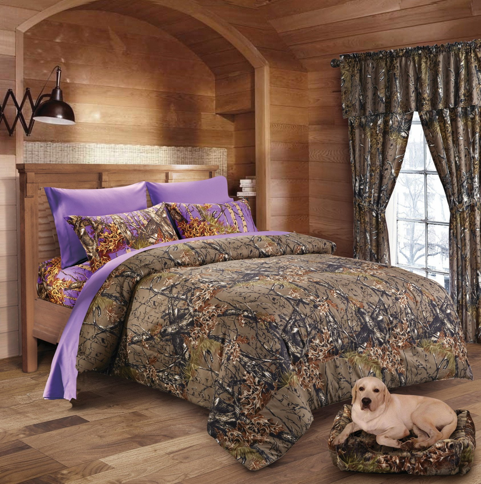 20 Lakes Hunter Camo Comforter, Sheet, Pillowcase Set Brown & Purple (King, Brown & Purple)