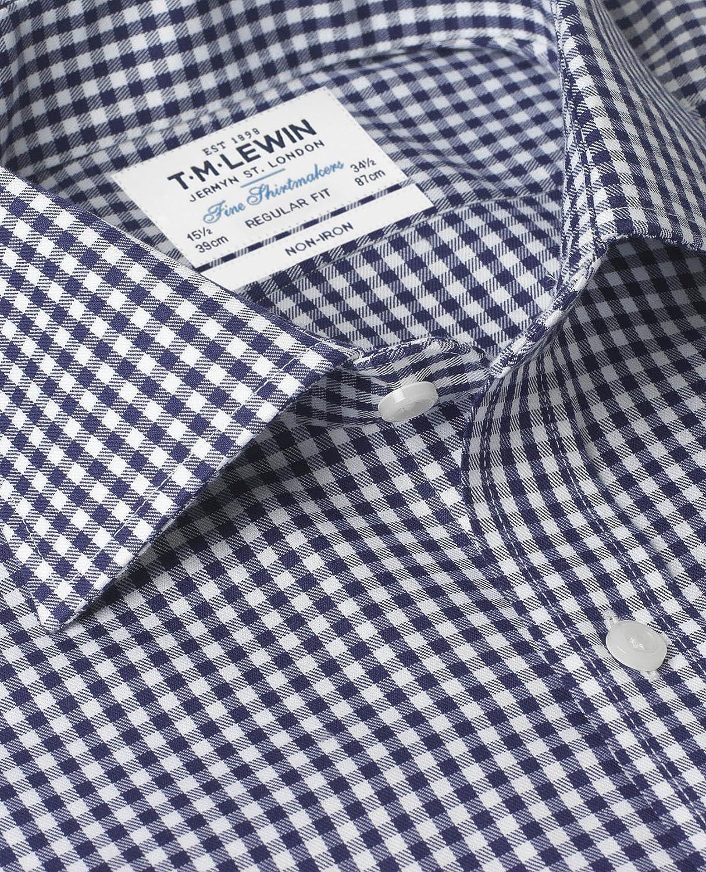 Tmlewin Mens Non Iron Navy Gingham Regular Fit Shirt Amazon
