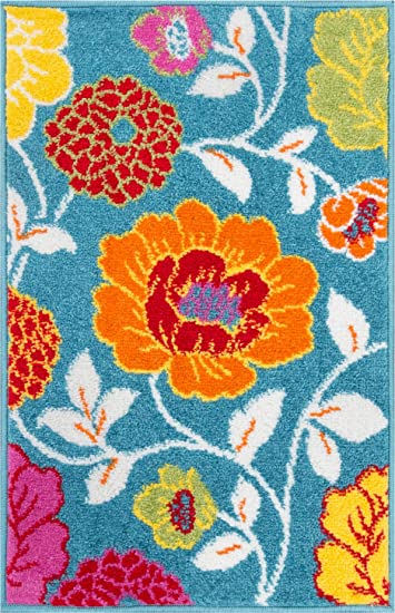 Small Rug Mat Doormat Well Woven Modern Kids Room Kitchen Rug Daisy Flowers  Blue 1u0027