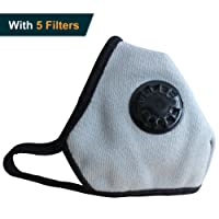 Anplus Mask Anti Pollution Mask Military Grade N99 respirator Mask With Valve Replacement Filter Washable Cotton Anti Dust Mouth Mask For Men Women Grey