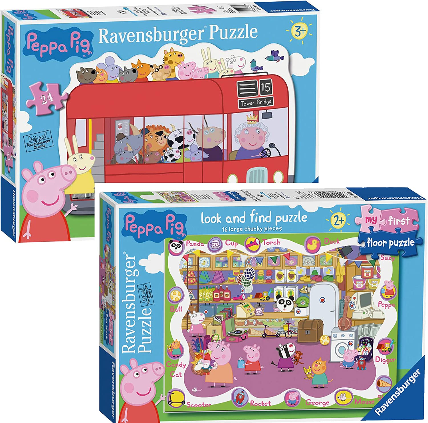 Floor 16pc// Bus 24 Piece Bodenpuzzles 16-teiliges Look and Find und 24-teiliger London Bus Peppa Pig Puzzles
