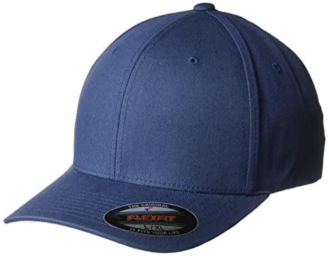 59aeefb55 Flexfit Men's V Cotton Twill Fitted Hat Small/Medium Navy: Amazon.co ...