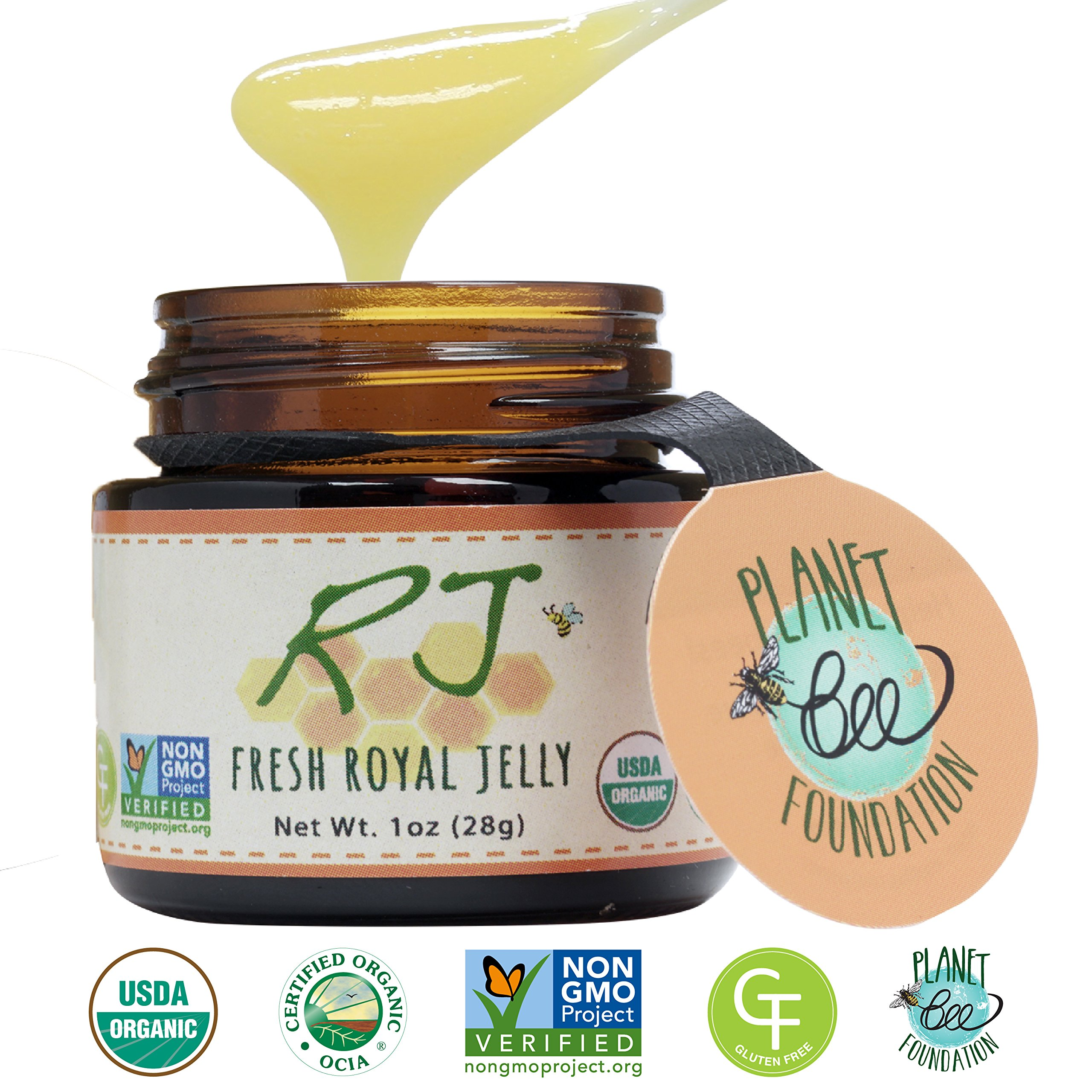GREENBOW Organic Fresh Royal Jelly - 100% USDA Certified Organic, Pure, Gluten Free, Non-GMO Royal Jelly - One of the Most Nutrition Packed Diet Supplements - Highest Quality Royal Jelly - (28g)