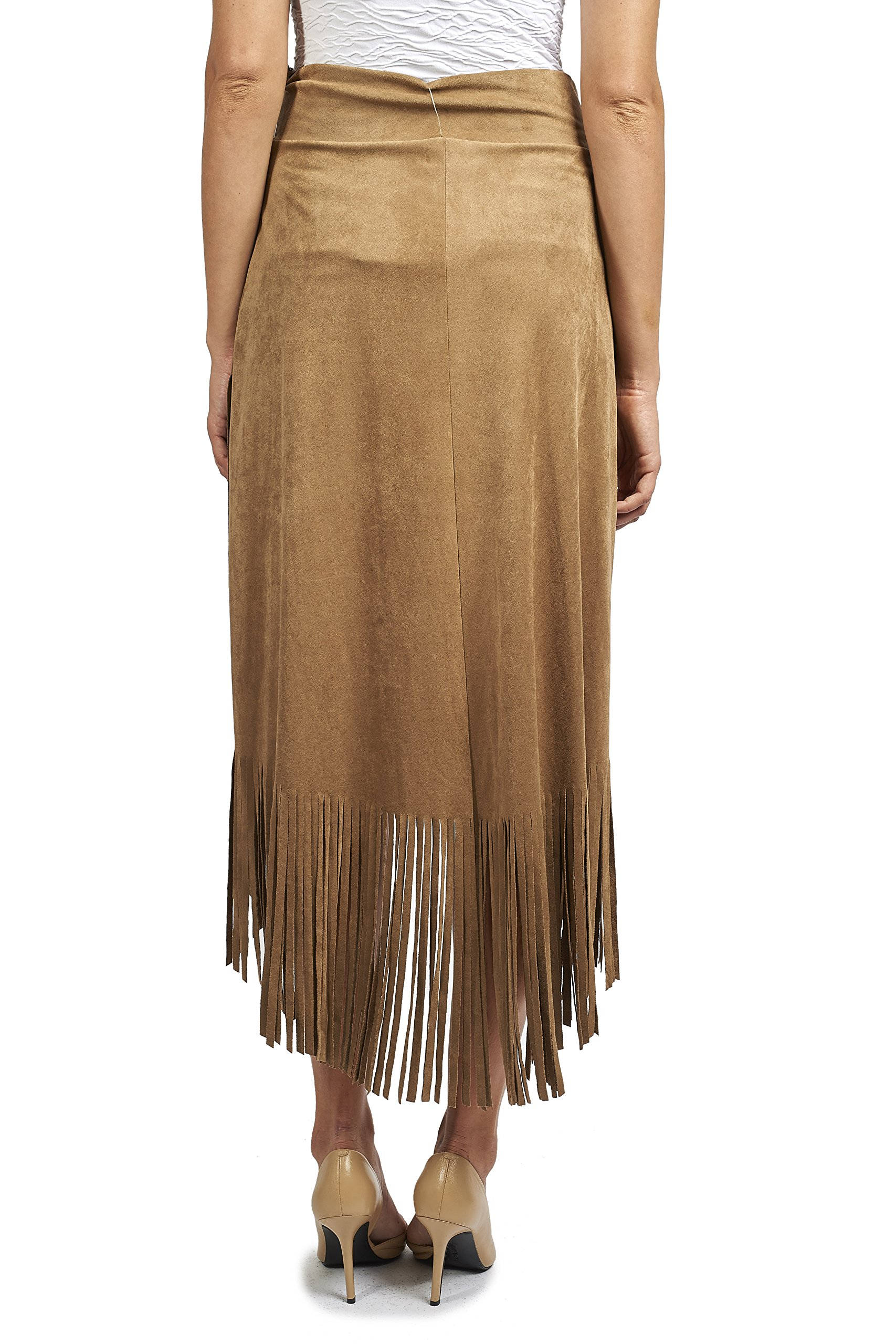 Joseph Ribkoff Faux Suede Asymmetric Skirt with Fringe Style 171388 - Size 14 by Joseph Ribkoff (Image #2)