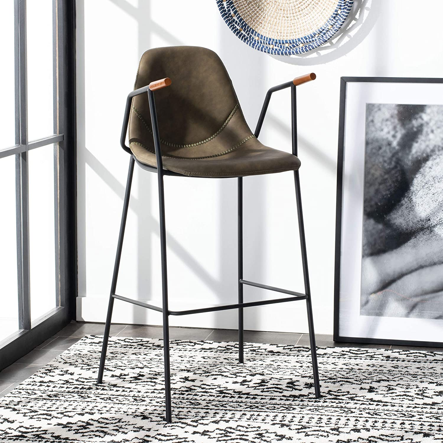 Safavieh Home Collection Tanner Mid-Century Olive Bar Stool
