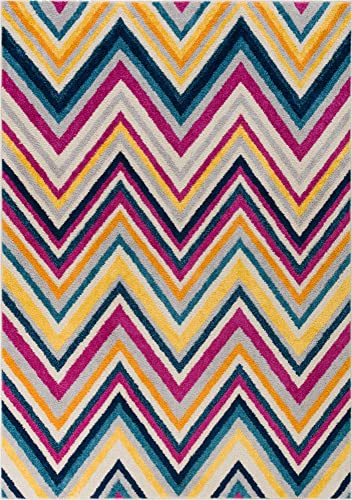 Well Woven Candice Modern Geometric Stripes Bright Chevron Fuchsia Purple Blue Yellow Orange Lines 5×7 5 x 7 Area Rug
