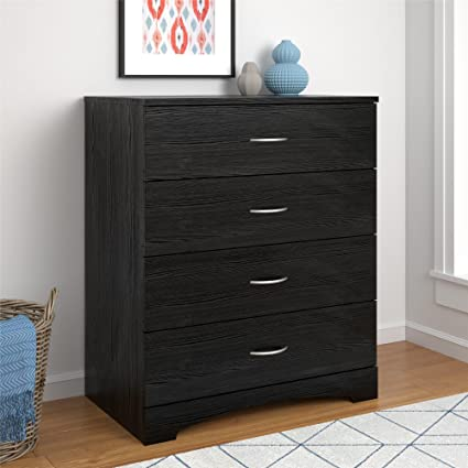 Amazoncom Ameriwood Home Crescent Point 4 Drawer Dresser Black